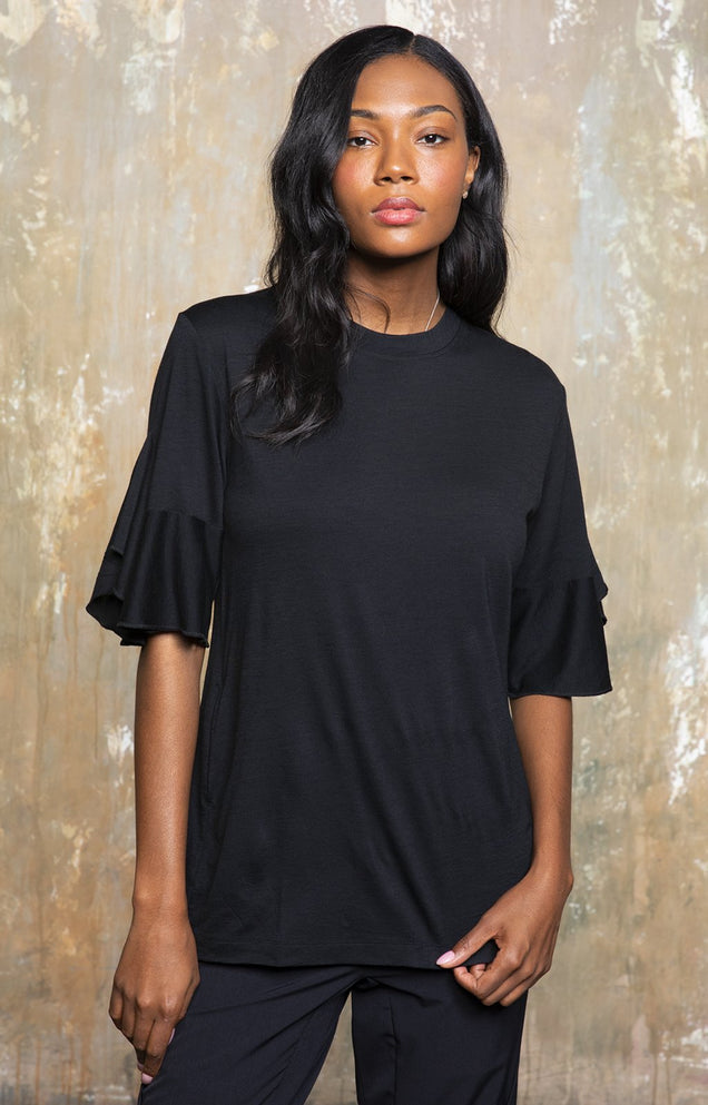 Luminous - Ruffle Sleeve Merino Tunic in Midnight Black