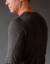 Entice - Insanely Comfortable Contoured Merino Silk Long Sleeve Tee Charcoal