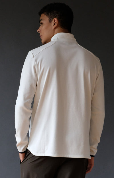 Lucid - Ultrasoft Microknit 1/4-Zip Pullover Top White