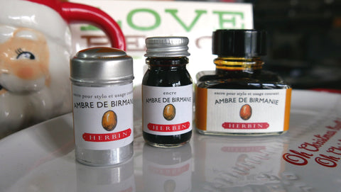 J Herbin Ink Ambre de Birmanie Cartridge and Bottles