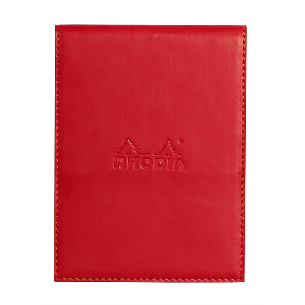 Rhodia #12 Red Leatherette Holder with Orange Lined Notepad