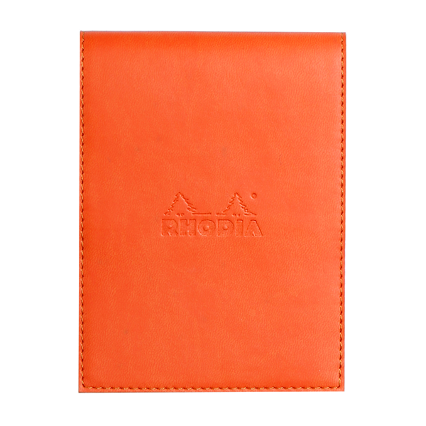Rhodia #12 Tangerine Leatherette Holder with Orange Lined Notepad