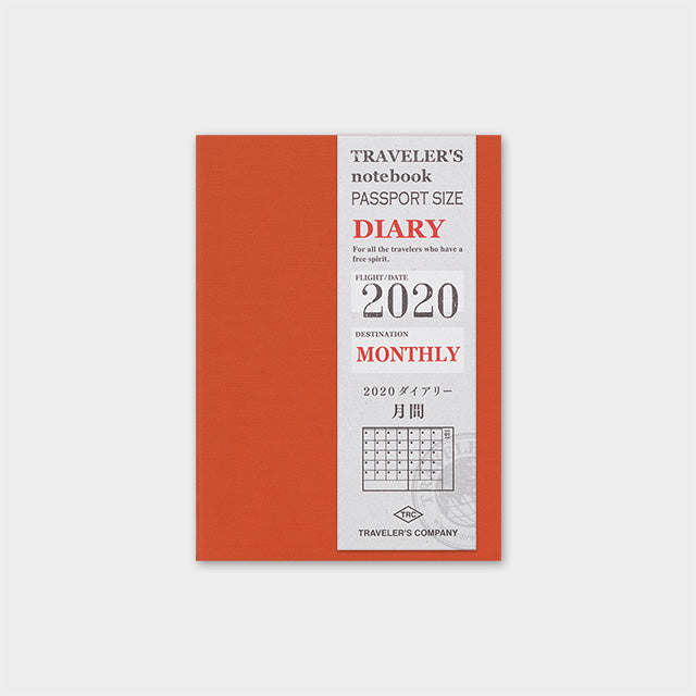 Traveler's Company Traveler's Notebook Refill Passport Size 2020 Diary- Monthly