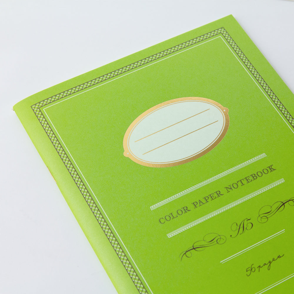 Midori Color Paper A5 Notebook- Green