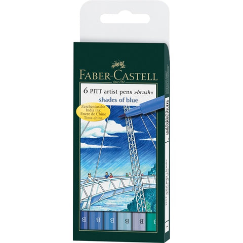 Faber-Castell 6 Pitt Artist Brush Pens Shades of Blue