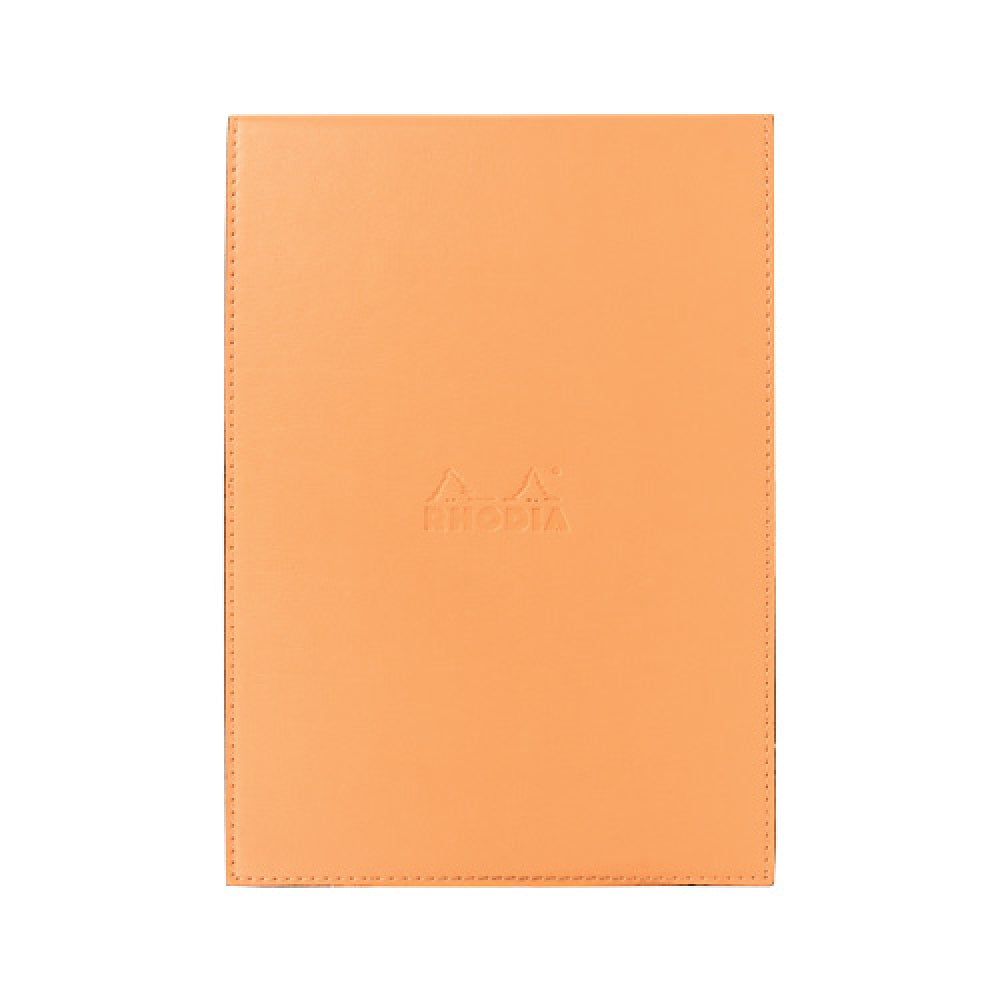 Rhodia #16 Orange Leatherette Holder with Orange Graph Notepad