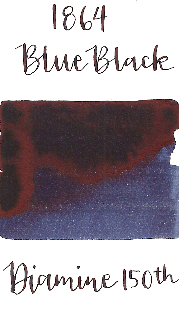 Diamine 1864 Blue Black is a classy dark blue black fountain pen ink that features copper sheen.