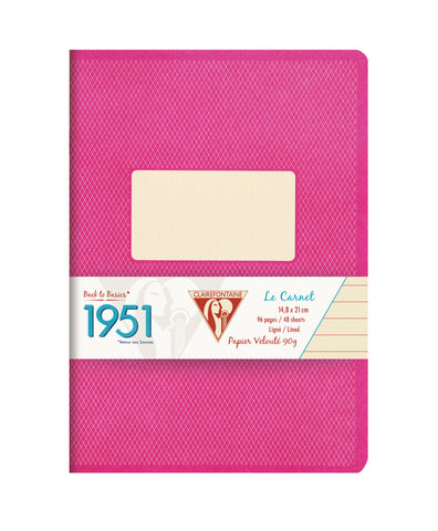 Clairefontaine 195836 1951 Collections 5 3/4 x 8 1/4 Staplebound Lined Raspberry