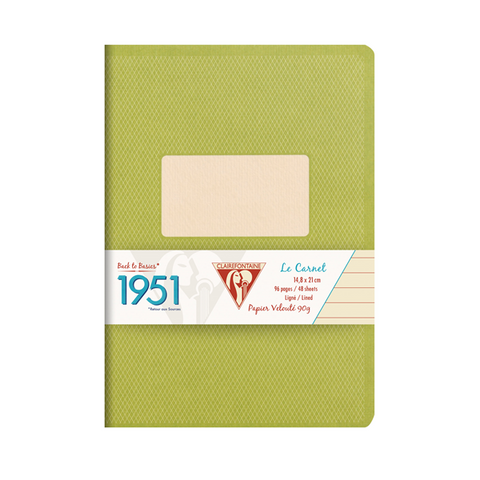 Clairefontaine 195536 1951 Collections 5 3/4 x 8 1/4 Staplebound Lined Green