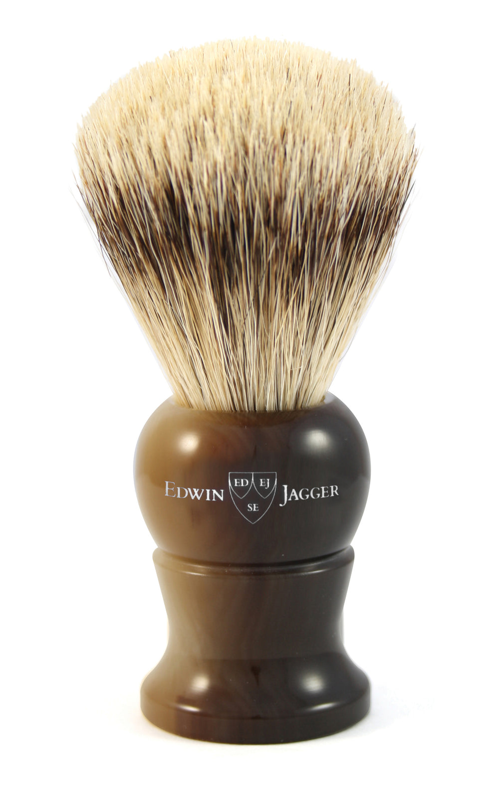 Edwin Jagger Imitation Horn Shaving Brush (Synthetic Silver Tip)