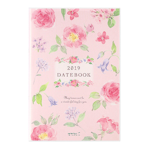 Midori 2019 Pocket Diary B6- Country Time Flower Pattern