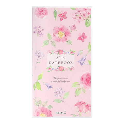 Midori 2019 Pocket Diary Slim- Country Time Floral Pattern