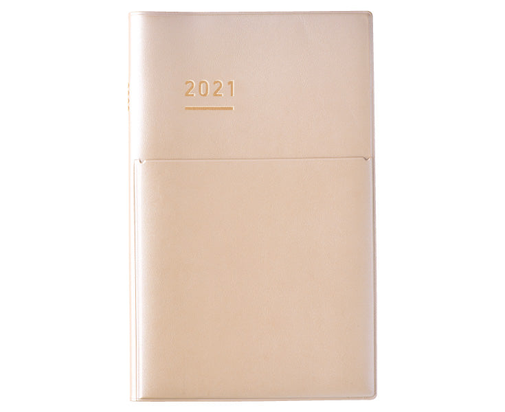 Kokuyo Jibun Techo 2021 Log Your Life Diary- Beige A5 Slim