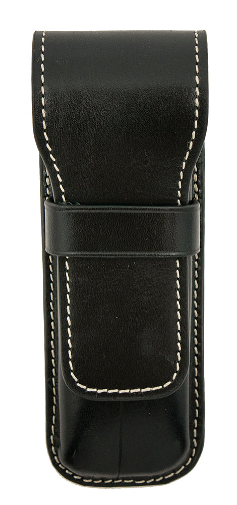 Galen Leather Co. Flap Pen Case for 2 Pens- Black