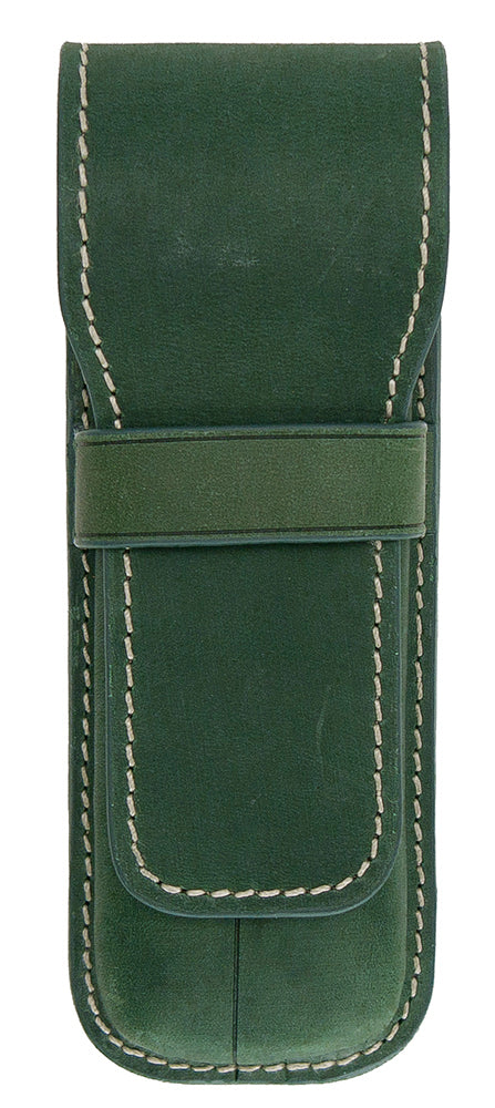 Galen Leather Co. Flap Pen Case for 2 Pens- Crazy Horse Forest Green