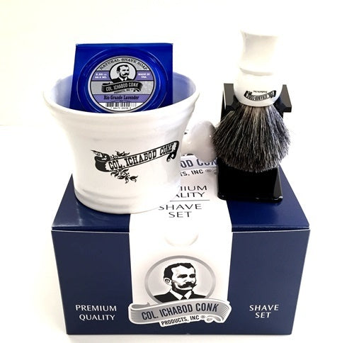 Colonel Conk Shave Set- White Apothecary Mug, Badger Brush, Stand & Natural Soap