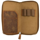 Galen Leather Co. Zippered 3 Slot Pen Case- Crazy Horse Brown