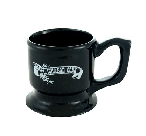 Colonel Conk Pedestal Shave Mug - Black with White Decal