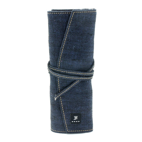Franklin Christoph 7 Pen Roll Linen Dark Blue