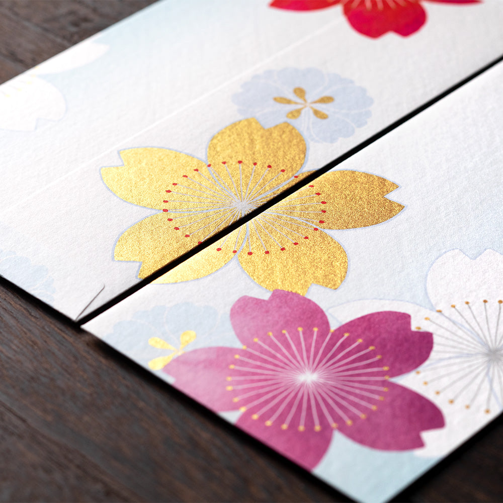 Midori Cherry Blossom Pattern Silk Screen Printed Envelopes