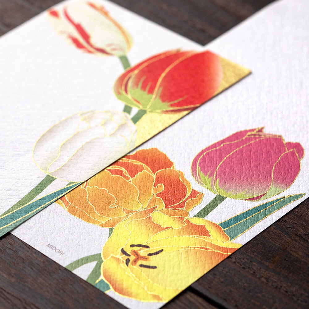 Midori Tulips Silk Screen Printed Message Pad