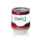 Swig 9 oz Stemless Wine Glass - Crimson/White
