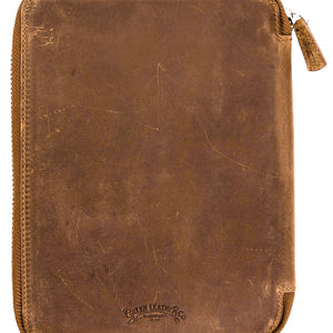 Galen Leather Co. Zippered A5 Notebook Folio- Crazy Horse Brown