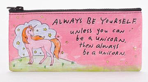 "Blue Q Pencil Pouch ""Always Be a Unicorn"""