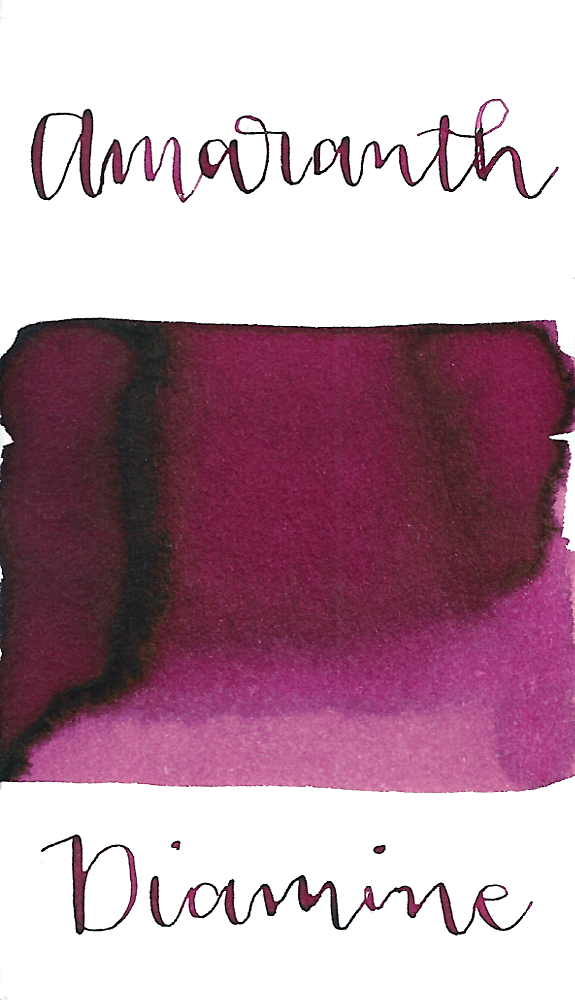 Diamine Amaranth is a medium burgundy colored fountain pen ink made in the UK.
