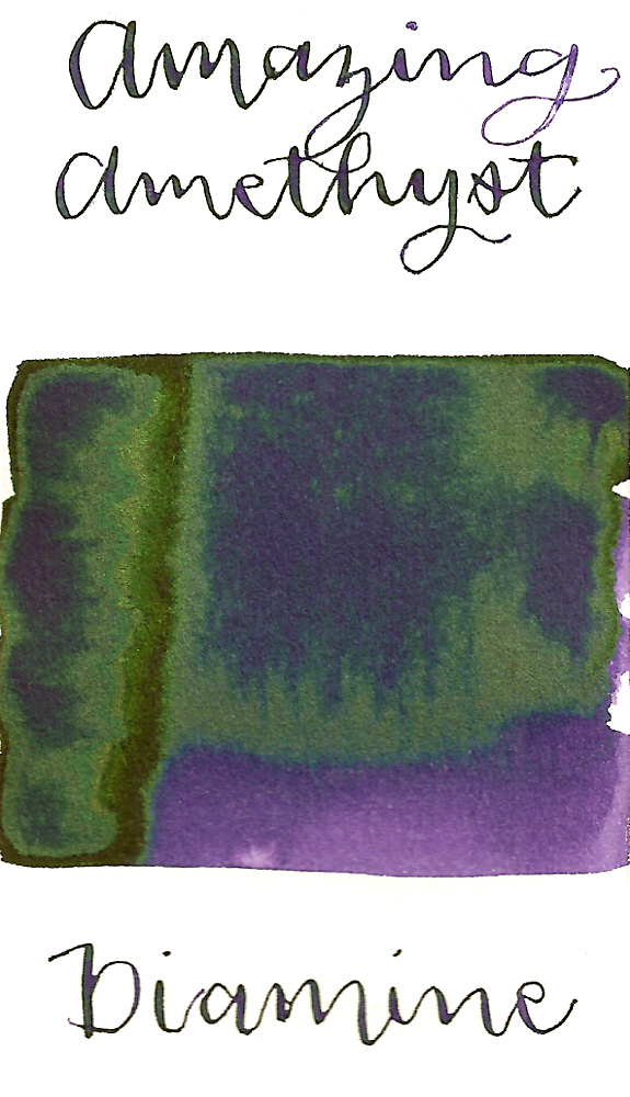Diamine Amazing Amethyst is a medium purple fountain pen ink that features a vivid green sheen in large swabs.