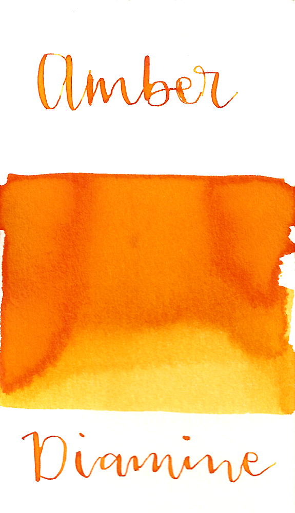 Diamine Amber is a warm yellow-orange fountain pen ink with medium shading.
