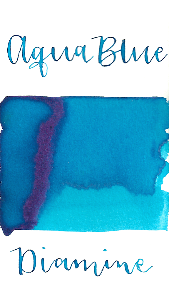 Diamine Aqua Blue is a summery light blue fountain pen ink with low shading and a pop of pink sheen in large swabs.
