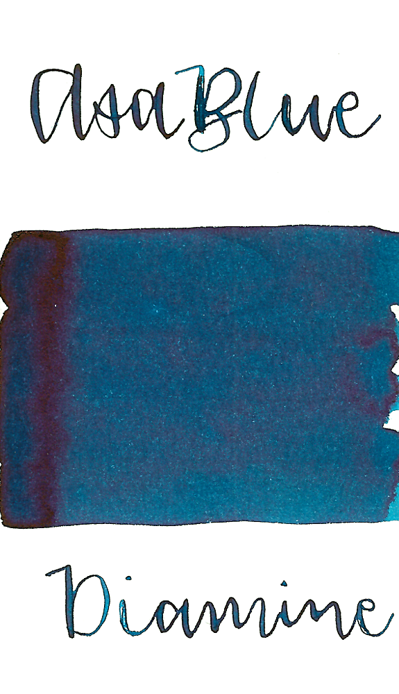 Diamine Asa Blue is a saturated dark blue fountain pen ink.