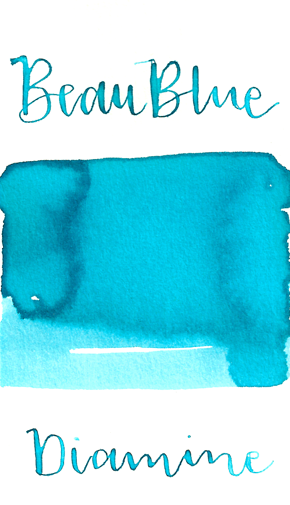 Diamine Beau Blue is a pale baby blue fountain pen ink with medium shading. This ink is very pale, so it performs best in large nib sizes.