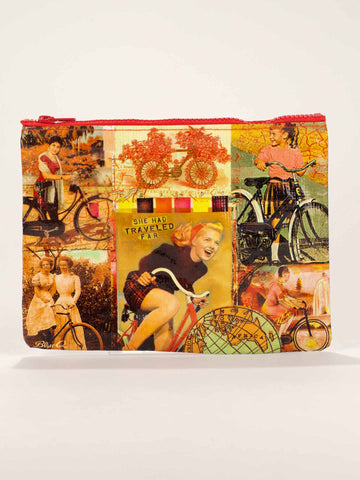 "Blue Q Zippered Pouch ""Bicycle Traveller"""