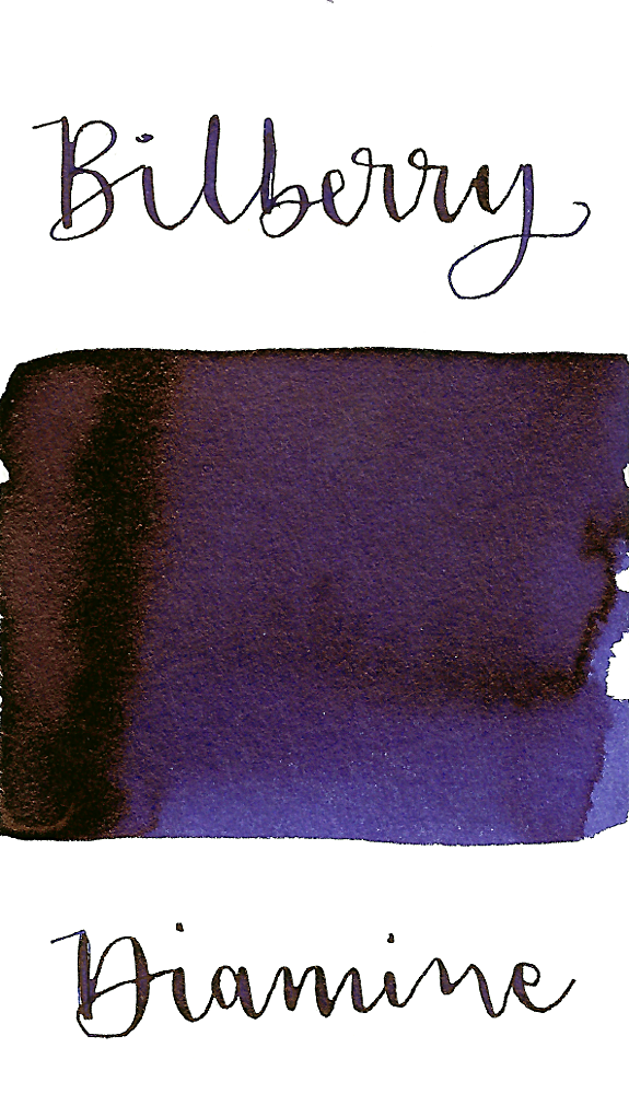 Diamine Bilberry is a dark, cool-toned purple fountain pen ink with medium copper sheen.