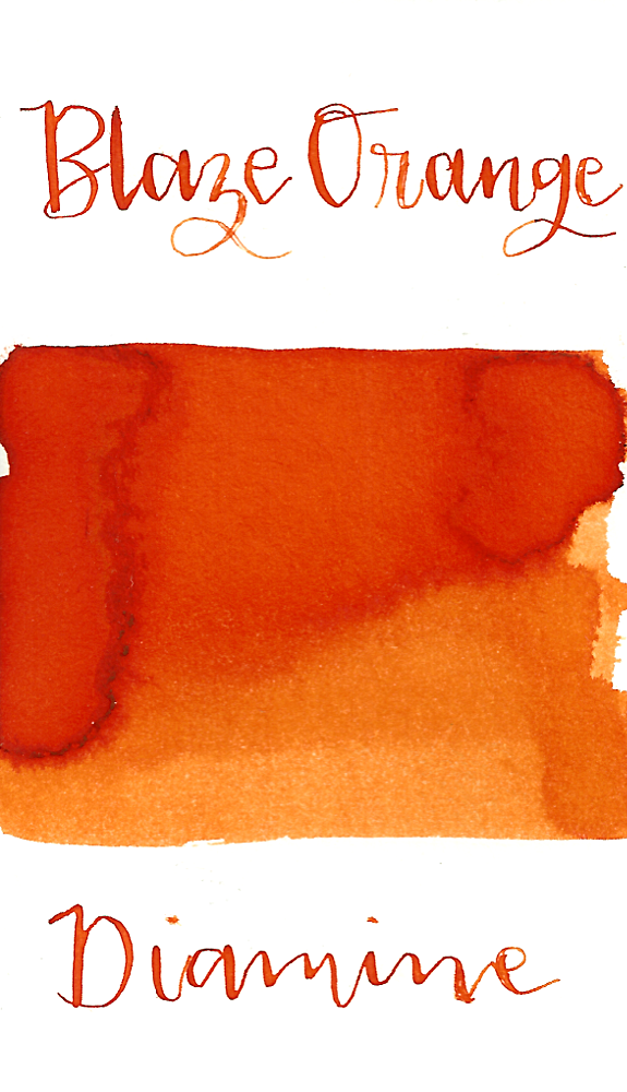 Diamine Blaze Orange is a dynamic medium orange fountain pen ink.
