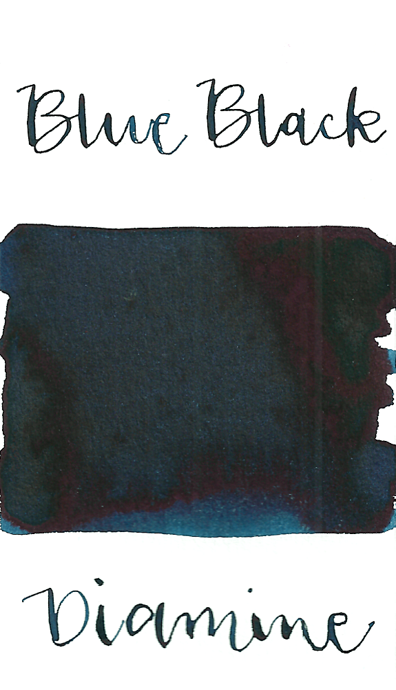 Diamine Blue Black is a medium blue black fountain pen ink with medium shading