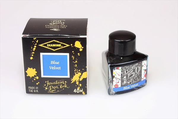 Diamine Velvet Blue fountain pen ink is available in a triangular shaped 40ml bottle.