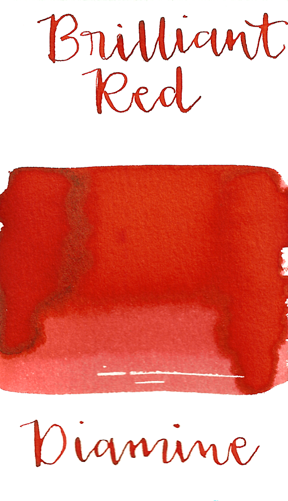 Diamine Brilliant Red is a bright red fountain pen ink with medium shading.