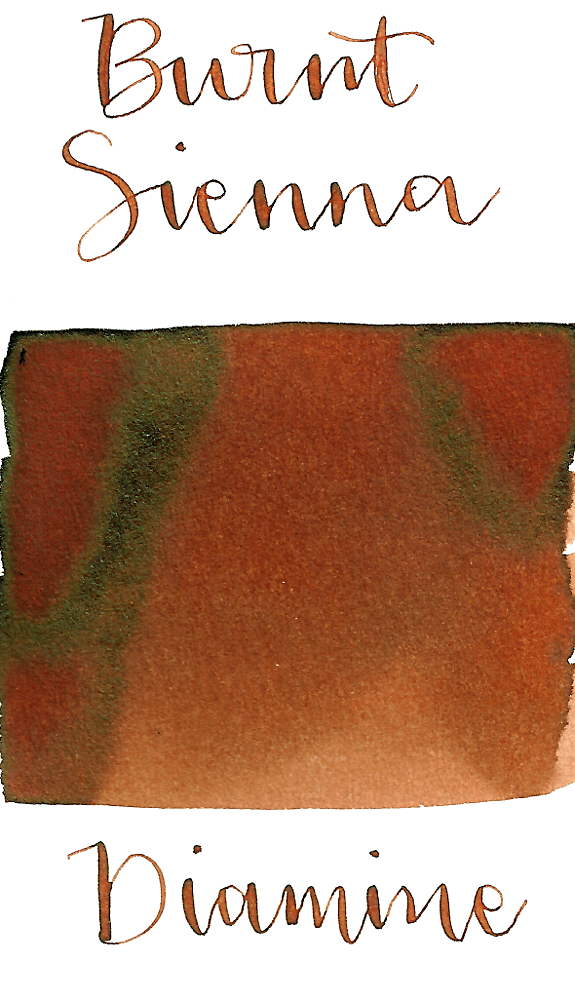 Diamine Burnt Sienna is an earthy red-brown fountain pen ink with medium shading and minimal sheen.
