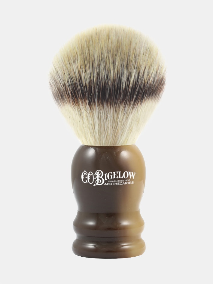 C.O. Bigelow Synthetic Silver Tip Fiber Shave Brush- Horn Handle