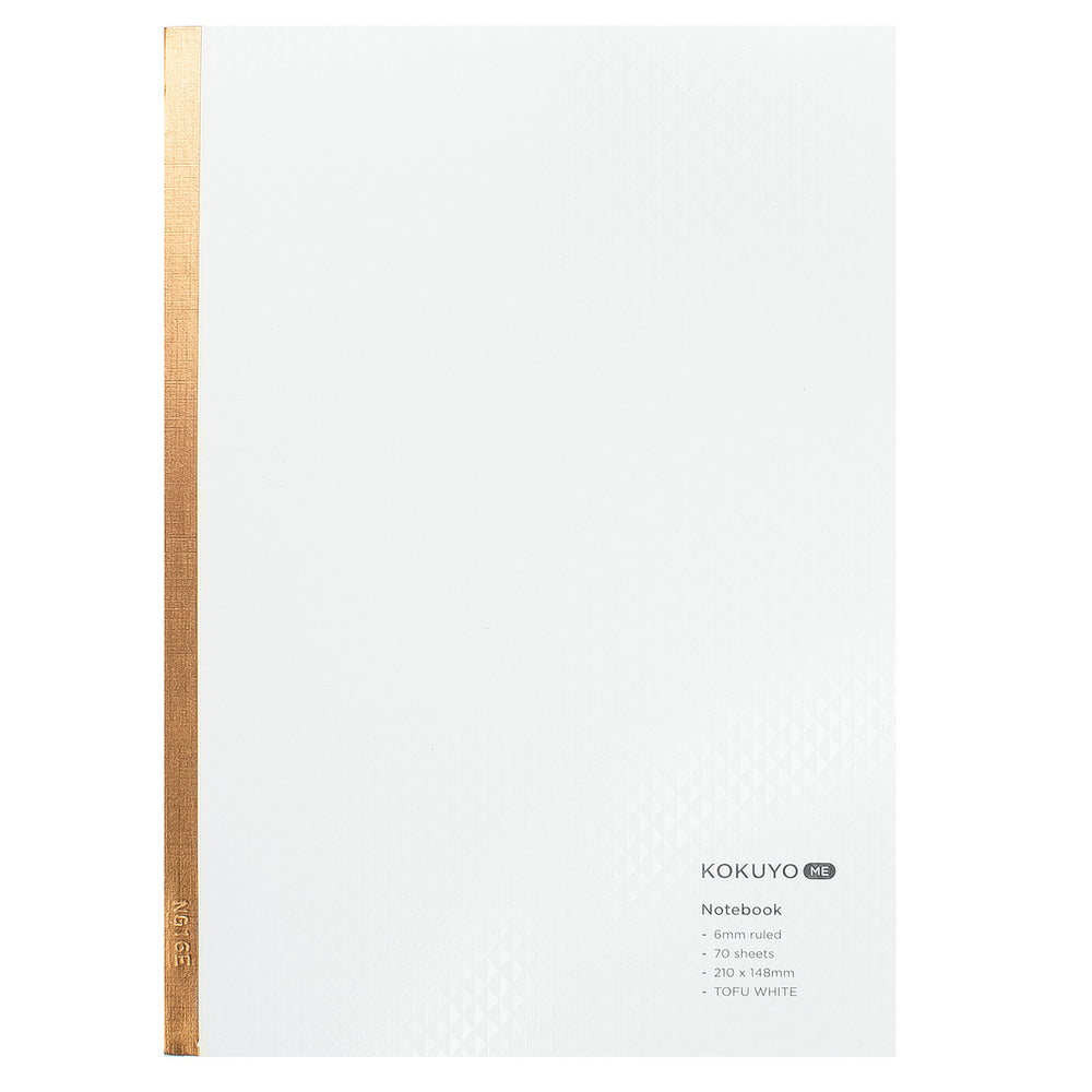 "Kokuyo Campus A5 Notebook- ""Tofu White & Gold"", Lined"