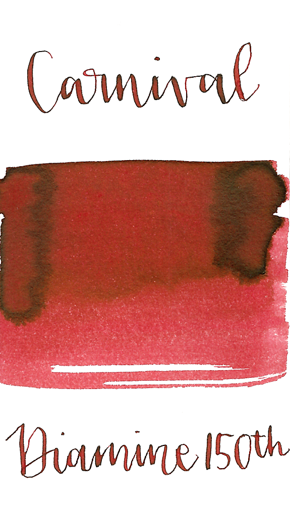 Diamine Carnival is a deep, rich red fountain pen ink with low shading.
