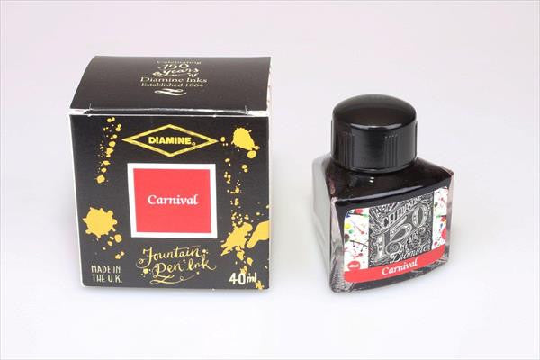 Diamine Carnival fountain pen ink is available in a triangular shaped 40ml bottle.