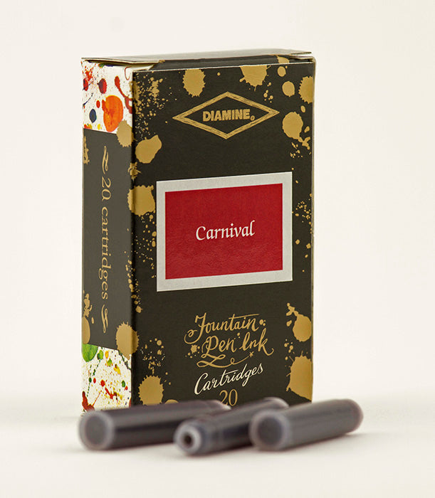 Diamine Carnival fountain pen ink is available in a pack of 20 standard international cartridges