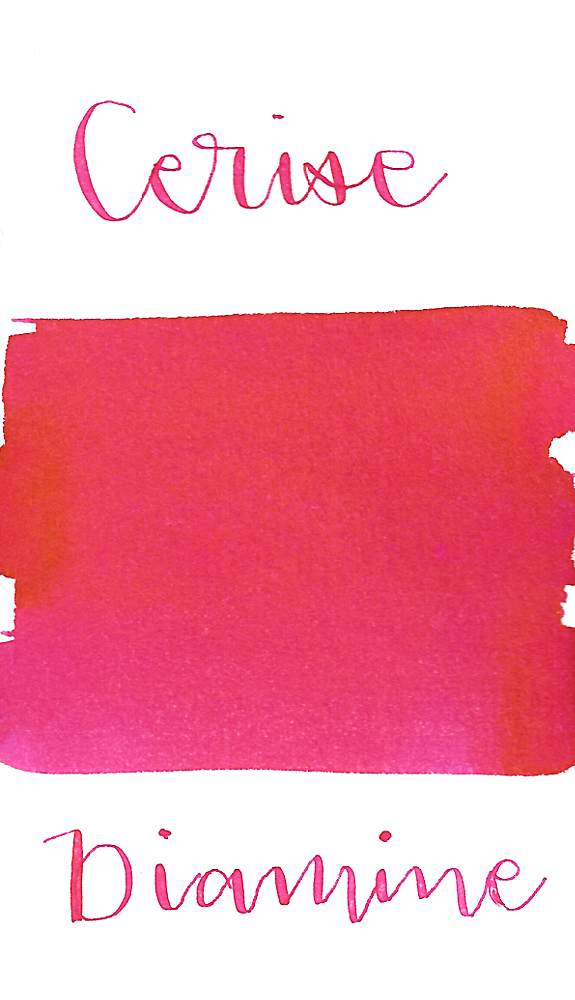Diamine Cerise is a vivid, summery pink fountain pen ink.