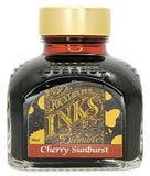 Diamine Cherry Sunburst is a medium red-brown fountain pen ink with medium shading, available in a 90ml glass bottle.