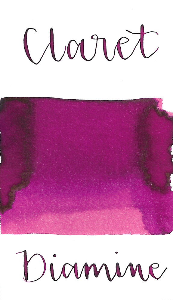 Diamine Claret is a bright magenta pink fountain pen ink with low shading.
