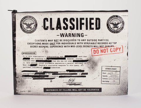 "Blue Q Jumbo Zippered Pouch ""Classified"""